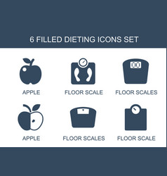 6 dieting icons vector