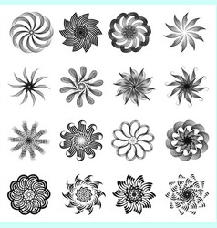 a set of monochrome circular decorative ornaments vector image