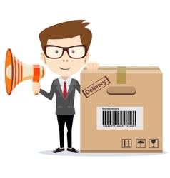 Abstract delivery service man with box and vector