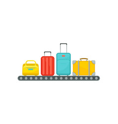 airport conveyor belt with suitcases baggage vector image