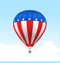 american hot air balloon with stars and stripes vector image