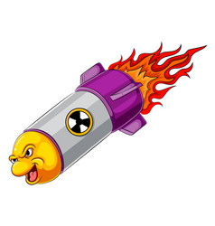Angry missile cartoon character vector