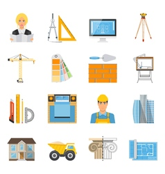 Architect Flat Colored Icons Collection vector