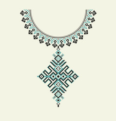aztec necklace embroidery for fashion women vector image