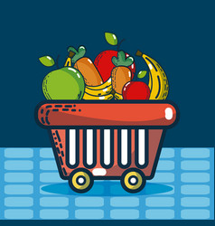 basket with groceries super market products vector image
