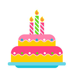 Birthday cake color icon vector