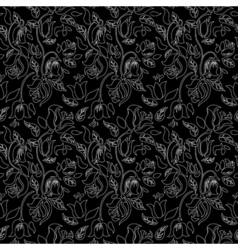 Black and white tulip and rose floral textile vector image