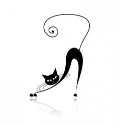 black cat silhouette vector image