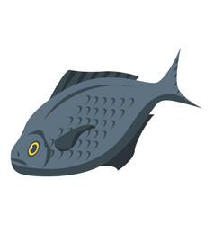 Black fish icon isometric style vector