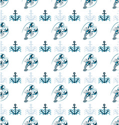 blue lobster and sea anchor on waves vector image