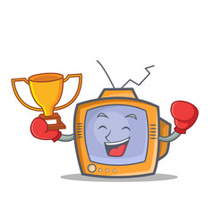 boxing tv character cartoon object winner vector image