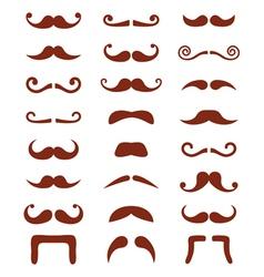 Brown moustache or mustache icons set vector