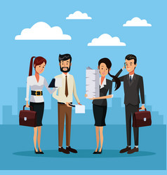 business people outside cartoon vector image