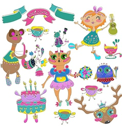Cartoon color party with little girl and animals vector image
