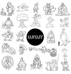 cartoon fantasy characters large set color book vector image