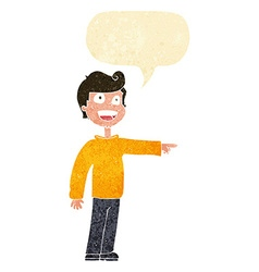 Cartoon man pointing and laughing with speech vector