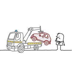 Cartoon man with car impounded vector