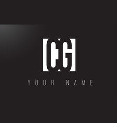 cg letter logo with black and white negative vector image