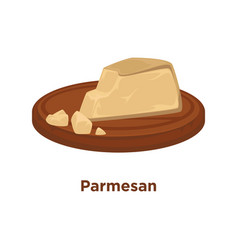 Cheese parmesan sort flat isolated slice vector