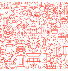 chinese line seamless pattern vector image