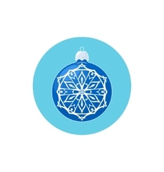 Colorful Icon Blue Ball with Snowflake vector image