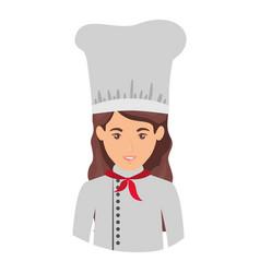 Colorful portrait half body of female chef vector