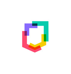 colorful shield logo icon in overlap overlapping vector image