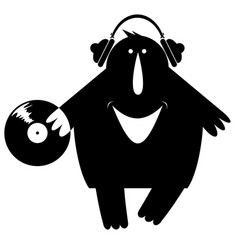 comic dj is listening music on vinyl vector image