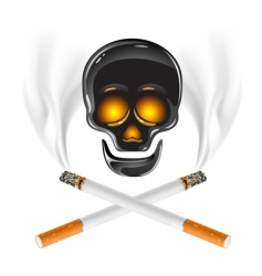 Cross of cigarettes with skull vector
