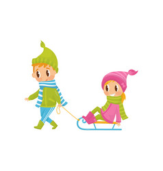 cute boy pulling little girl on sledge outdoor vector image
