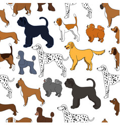 Cute seamless pattern with cartoon dogs different vector