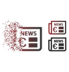 decomposed pixel halftone euro newspaper icon vector image