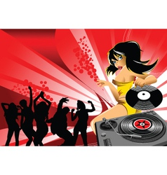 Dj party girl vector image