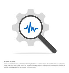 ecg icon search glass with gear symbol icon vector image