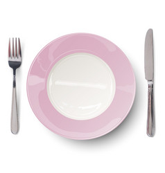 empty plate in rosy design with knife and fork vector image