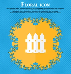 Fence icon sign Floral flat design on a blue vector image