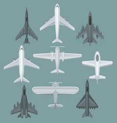 flat set of different types of aircraft vector image