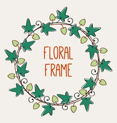 Floral circle frame vector