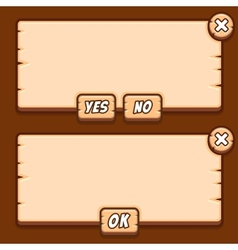 game wooden menu interface panels buttons vector image