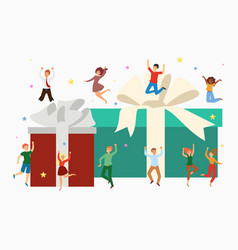 gift boxes and happy tiny people jumping with huge vector image