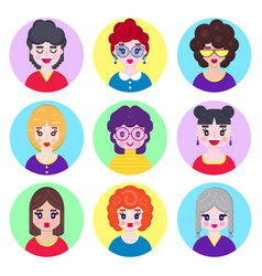 girls avatars in flat style vector image