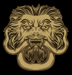 Gold lion holding a snake on black door knocker vector