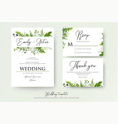 Greenery floral wedding invitation thank you cards vector