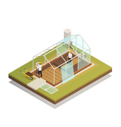 Greenhouse facility construction isometric vector