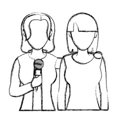 Grunge women reporters partner with microphone vector