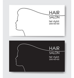 Hair salon business card templates withl woman vector