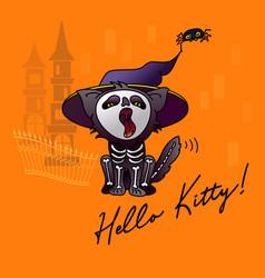 Halloween cartoon black cat vector