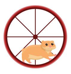 hamster in wheel icon cartoon style vector image