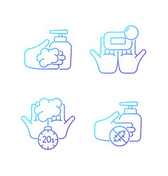 Hand hygiene gradient linear icons set vector