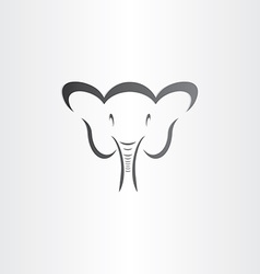 happy elephant head stylized symbol vector image